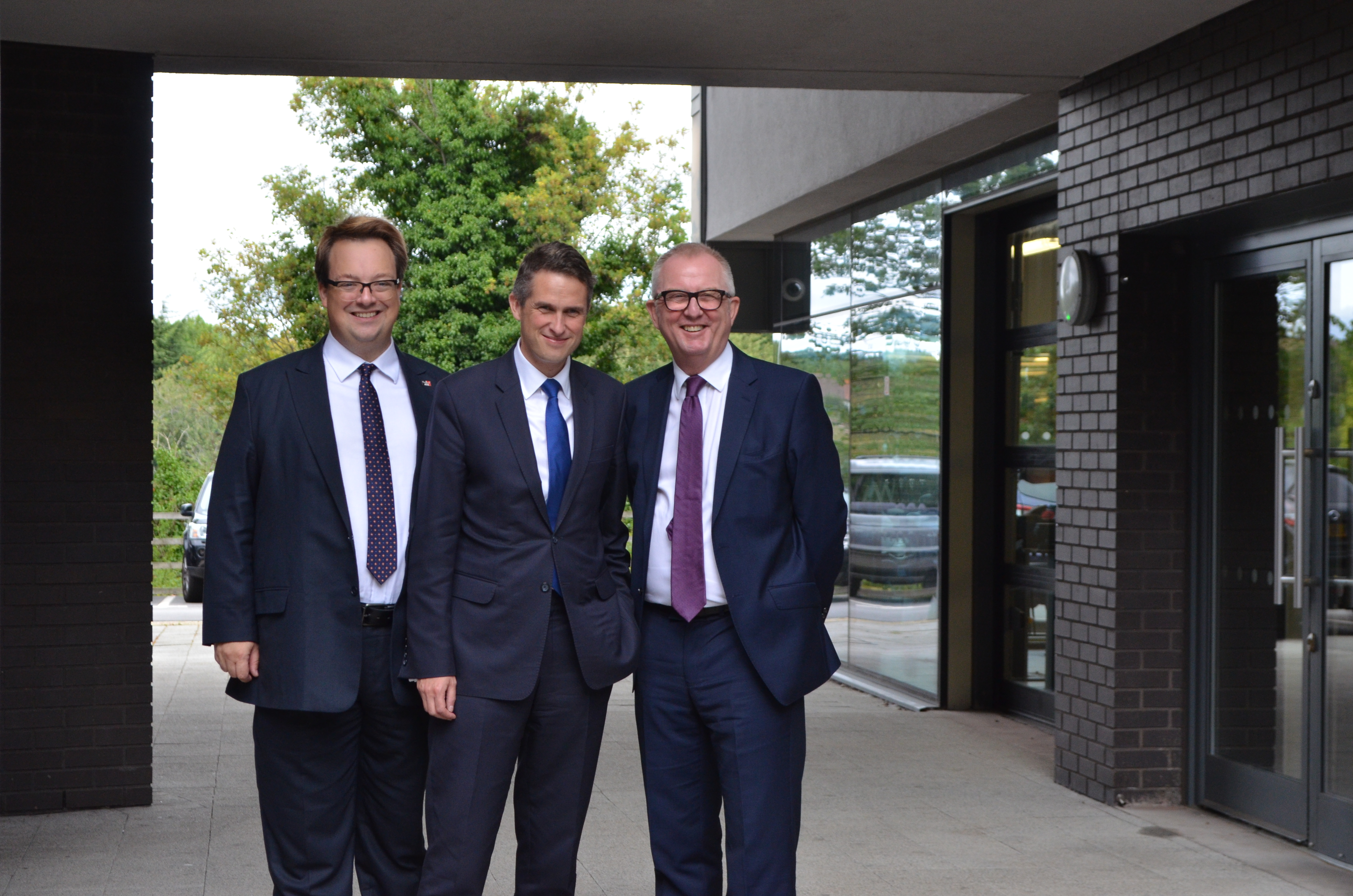 Gavin Williamson was welcomed to Dudley College by Dudley MPs Mike Wood and Ian Austin