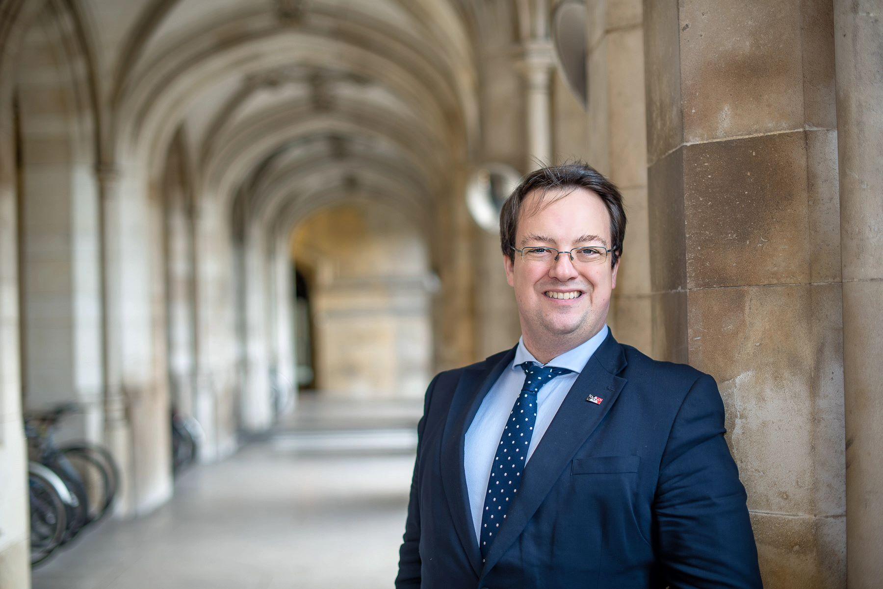 Mike in Collonades in Parliament