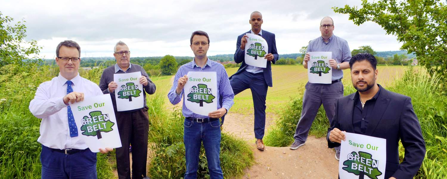 Mike Wood MP with local councillors, campaigning to save our Green Belt