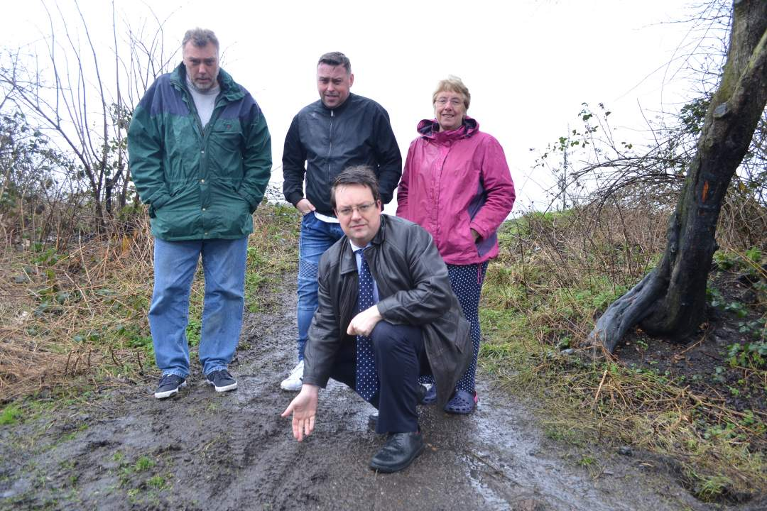 At Fens Pool Nature Reserve with local residents to see the damage done by illegal motorbikes and quadbikes