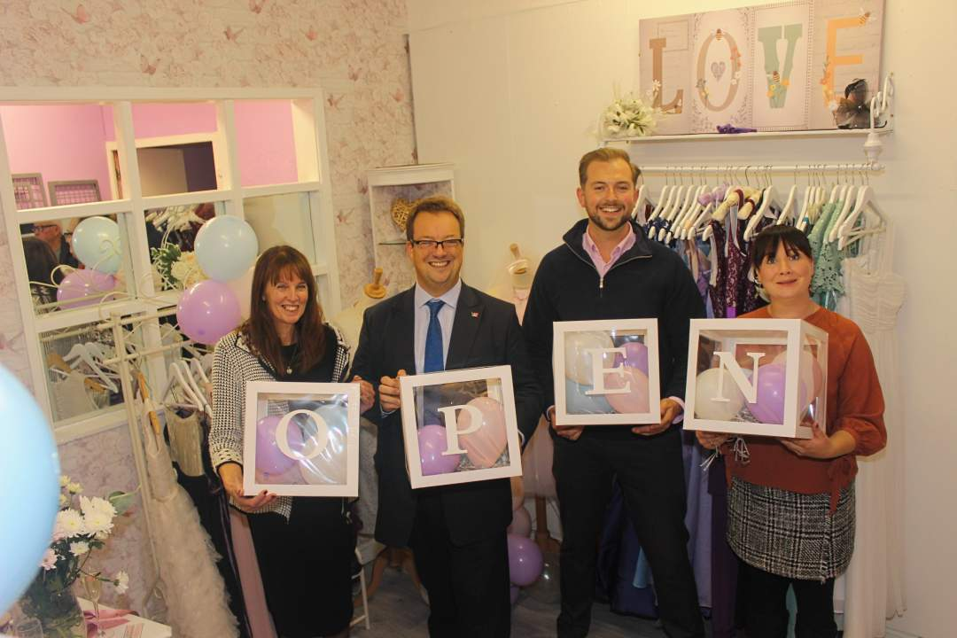 Mike Wood MP with Val Wylde, Michelle Foxall and Cllr Adam Davies at La Robe De Valeries launch event in Brierley Hill